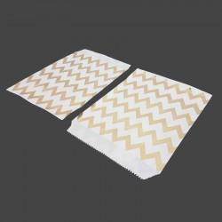 100 sachets cadeaux en papier kraft motifs zig zag dorés sur fond blanc - 8186