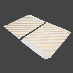 100 sachets cadeaux en papier kraft motif rayures dorées sur fond blanc - 8187
