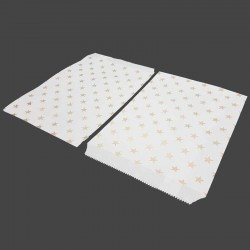 Lot de 50 sachets cadeaux en papier kraft motifs étoiles dorées sur fond blanc - 8188