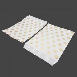 Lot de 50 sachets cadeaux en papier kraft motif pois dorés sur fond blanc - 8189