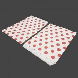 Lot de 50 sachets cadeaux en papier kraft motif pois rouges sur fond blanc - 8191