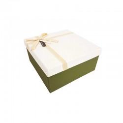 Petit coffret cadeaux bicolore vert olive et blanc 16.5x16.5x9.5cm - 11101p