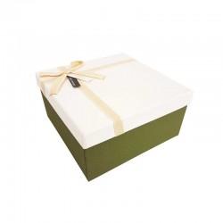 Coffret cadeaux de couleur vert olive et blanc 20.5x20.5x10.5cm - 11102m