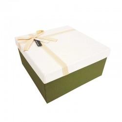 Grand coffret cadeaux de couleur vert olive et blanc 24.5x24.5x12cm - 11103g