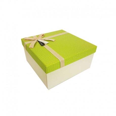 Petit coffret cadeaux écru et vert granny 16.5x16.5x9.5cm - 11104p