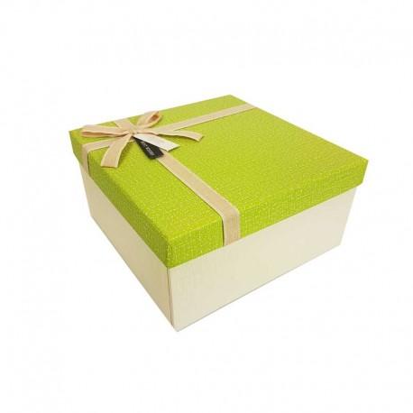 Coffret cadeaux de couleur écru et vert grany 20.5x20.5x10.5cm - 11105m