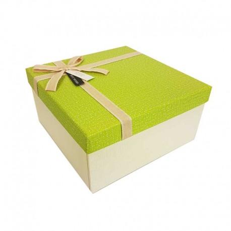 Grand coffret cadeaux bicolore de couleur écru et vert granny 24.5x24.5x12cm - 11106g