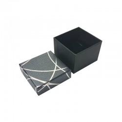 24 écrins bagues de couleur gris anthracite avec liseré argenté brillant - 10189
