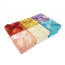 24 écrins pour bague 6 couleurs motifs plumes brillantes - 10193