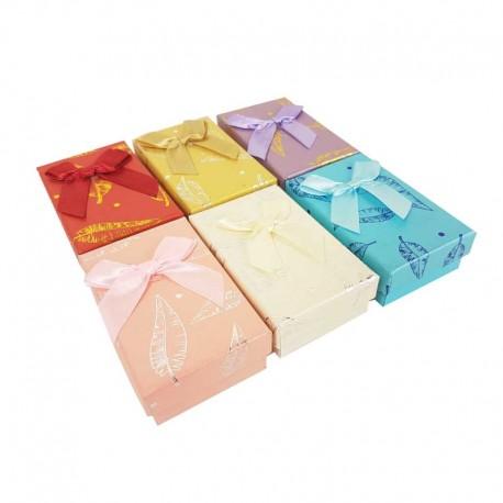 24 petits écrins pour parure 6 couleurs motif plumes brillantes - 10194
