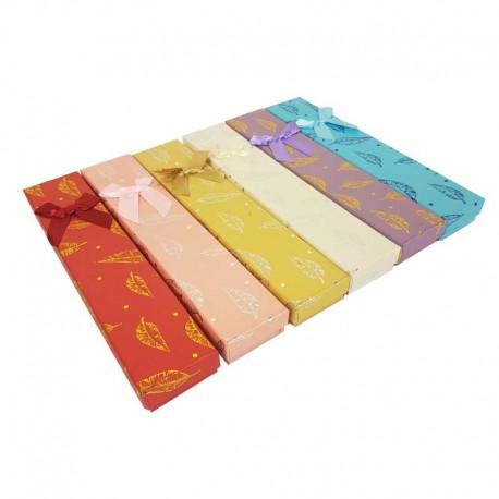 12 écrins bracelets 6 couleurs motif plumes brillantes - 10195