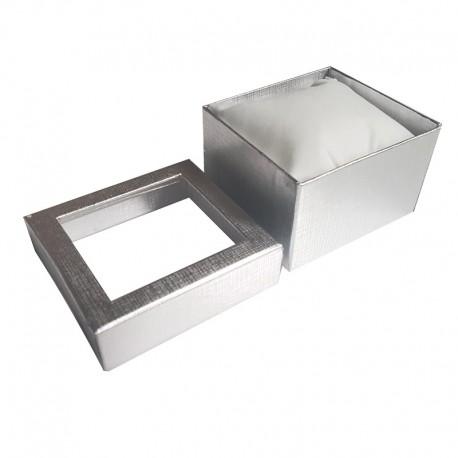 6 écrins cadeaux de couleur argentée avec coussin 9x5.5x8.5cm