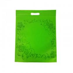 12 grands sacs non-tissés vert pomme imprimé couronne de roses 35x44cm - 9970
