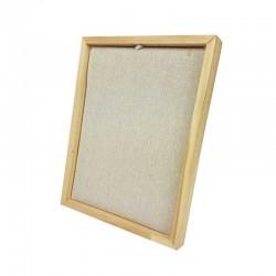 Présentoir cadre pour chaînes ou colliers en bois et coton beige - 9170