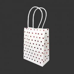 12 minis sacs cadeaux papier kraft pois rouge brillant fond blanc 11x6x15cm - 14130