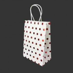 12 petits sacs cadeaux papier kraft blanc à pois rouge brillant 15x8x21cm - 14131