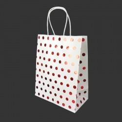 Lot de 12 sacs kraft uni couleur banche motif pois rouge brillant 21x11x27cm - 14132