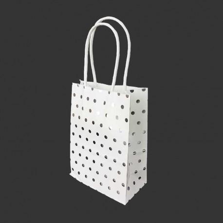 12 minis sacs cadeaux papier kraft pois argenté brillant fond blanc 11x6x15cm - 14133