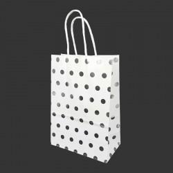 12 petits sacs cadeaux papier kraft blanc à pois argenté brillant 15x8x21cm - 14134