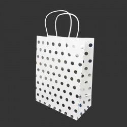 Lot de 12 sacs kraft couleur banche motif pois argenté brillant 21x11x27cm - 14135