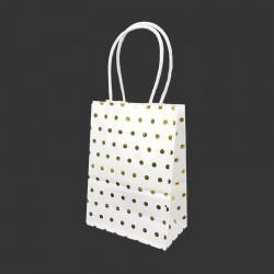 12 minis sacs cadeaux papier kraft pois doré brillant fond blanc 11x6x15cm - 14136