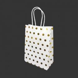 12 petits sacs cadeaux papier kraft blanc à pois doré brillant 15x8x21cm - 14137