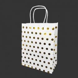 Lot de 12 sacs kraft couleur banche motif pois doré brillant 21x11x27cm - 14138