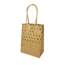 12 minis sacs cadeaux papier kraft pois doré brillant fond brun 11x6x15cm - 14139