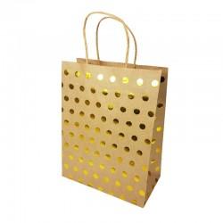 Lot de 12 sacs kraft couleur kraft motif pois doré brillant 21x11x27cm - 14141