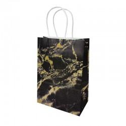12 petits sacs cadeaux papier kraft noir motif marbré doré 15x8x21cm - 14147