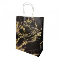 Lot de 12 sacs kraft couleur noire motif marbré doré 26x12x33cm - 14149