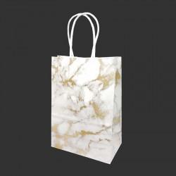 12 petits sacs cadeaux papier kraft blanc motif marbré doré 15x8x21cm - 14151