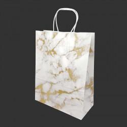 Lot de 12 sacs kraft couleur blanche motif marbré doré 26x12x33cm - 14153