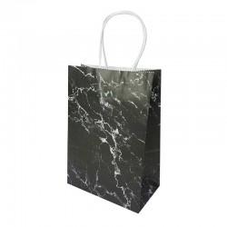 12 petits sacs cadeaux papier kraft noir motif marbré blanc 15x8x21cm - 14155