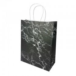 12 sacs kraft couleur noire motif marbré blanc 26x12x33cm - 14157
