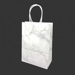 12 petits sacs cadeaux papier kraft blanc motif marbré gris 15x8x21cm - 14159