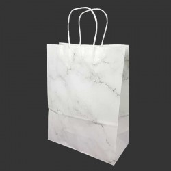 12 sacs kraft couleur blanche motif marbré gris 26x12x33cm - 14161