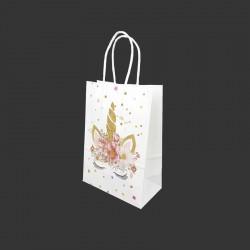 12 petits sacs en papier kraft motif licorne dorée à fleurs 15x8x21cm - 14163