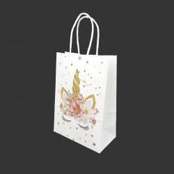 12 sacs papier kraft motif licorne dorée à fleurs 21x11x27cm - 14164