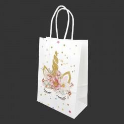 12 grands sacs en papier kraft motif licorne dorée à fleurs 26x12x33cm - 14165