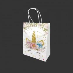 12 petits sacs en papier kraft motif licorne dorée à fleurs 15x8x21cm - 14167