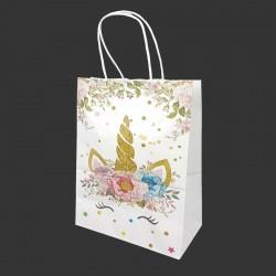 12 grands sacs en papier kraft blanc motif licorne à fleurs 26x12x33cm - 14169