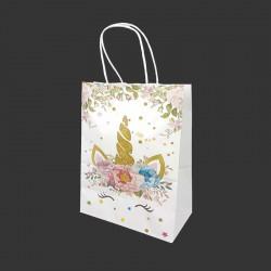 12 sacs papier kraft blanc motif licorne à fleurs 21x11x27cm - 14168