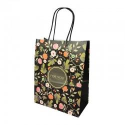 12 sacs papier kraft noir à fleurs orangées 21x11x27cm - 14172