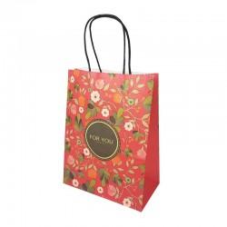 12 sacs papier kraft rouge à fleurs orangées 21x11x27cm - 14176