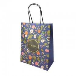 12 sacs papier kraft bleu à fleurs orangées 21x11x27cm - 14180