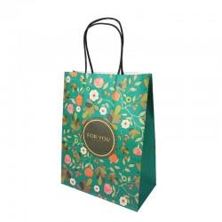 12 sacs papier kraft vert à fleurs orangées 21x11x27cm - 14184