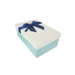 Boîte cadeaux bicolore bleu givré et écrue ruban bleu nuit 18.5x11.5x7cm - 11112p