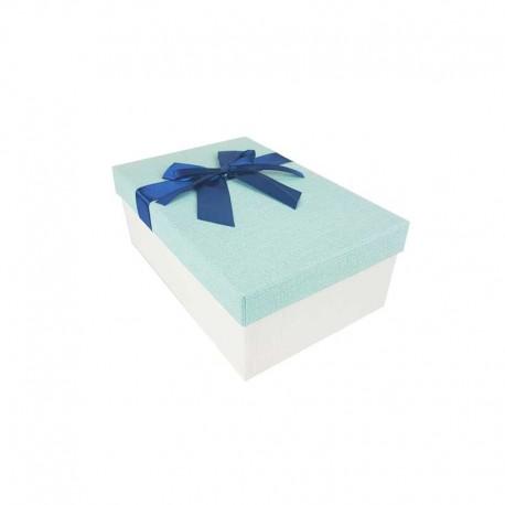 Boîte cadeaux bicolore écrue et bleu givré 18.5x11.5x7cm - 11115p