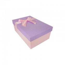 Boîte cadeaux bicolore rose clair et mauve 18.5x11.5x7cm - 11118p